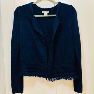 Cute Navy Blue Stay Open Fringe Edge Sweater